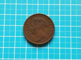 1874 Strait settlement Queen Victoria one cent coin