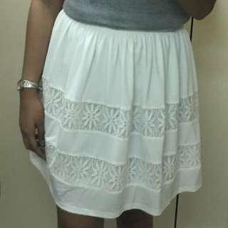 White Boho Lace Skirt