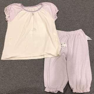 🚚 Uniqlo 小女童棉短袖睡衣居家服套裝 - 100