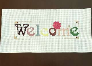 "Completed Cross Stitch Pattern - ""Welcome"""