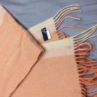橘色純羊毛圍巾#五十元好物