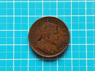 1908 Strait settlement King Edward vii one cent coin