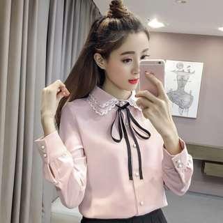◇悠莎◇ 新品甜美修身蝴蝶結雙層領襯衫 二色 565227574998180523