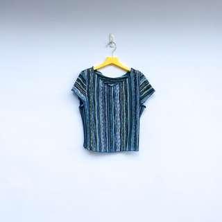 🚚 二手 藍色 條紋 彈性 上衣 短T 明太子 523