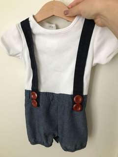 Love henry outfit onepiece button jeans white