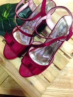 Red Silk Bowtie Heels