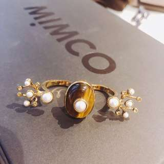Mimco pearl two-finger ring