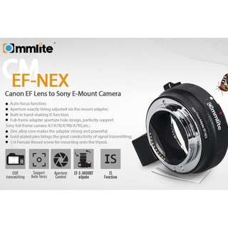 COMMLITE Adapter EF-NEX for Canon EF/EF-S Lens to Sony NEX A7 A7R A7SII