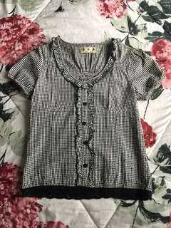 #mausupreme Preloved BW Checkered Top