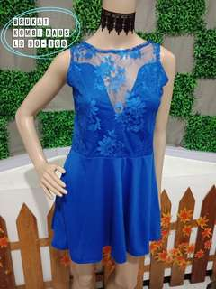 Dress biru brukat spandex
