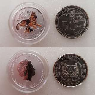 1/4 oz colour dog silver coin