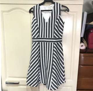 J. Crew Black and White Stripes Dress
