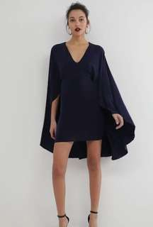 NAVY BLUE BALL DRESS BODYCON WITH CAPE