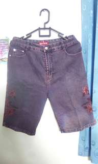 Celana Jeans Pendek Ungu Tua