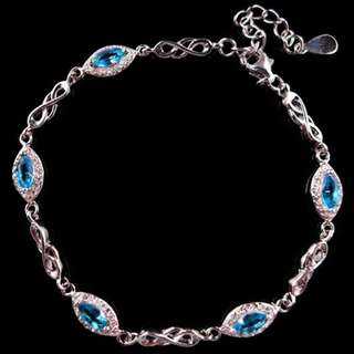 BRACELET & CHARM / GELANG TANGAN BEAUTY LIGHT BLUE WHITE PLATED WHITE GOLD FOR WOMEN PARTY