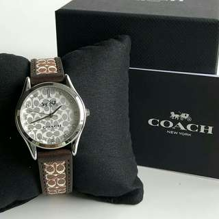Coach Signature Leather Strap Brown