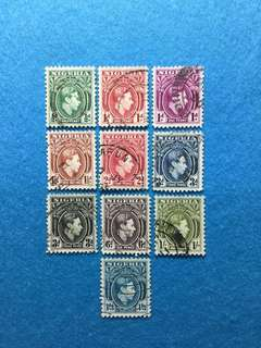 1938 Nigeria King George 6 Definitives 10 Values Used Short Set