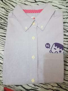 🚚 淺紫藍短袖襯衫