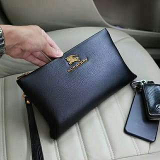 Soft Leather 25cm High Class Clutch Bag with logo