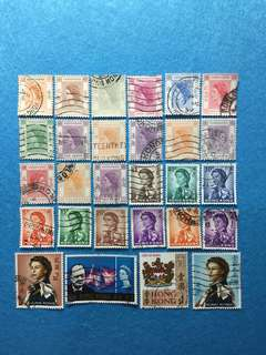 1946-1970 Hong Kong Lot of 28 Used Stamps