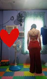 Red sexy back long gown