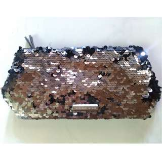 Authentic Victoria's Secret Sequins/Mermaid Black/Silver Pouch/Clutch/Make Up Bag
