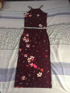 Maroon terno dress