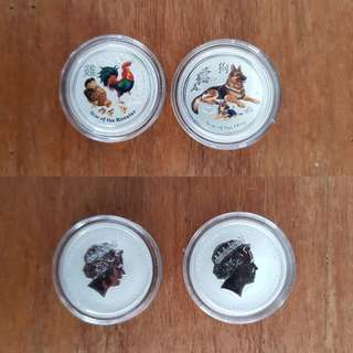 1/4 oz colour rooster & dog silver coin