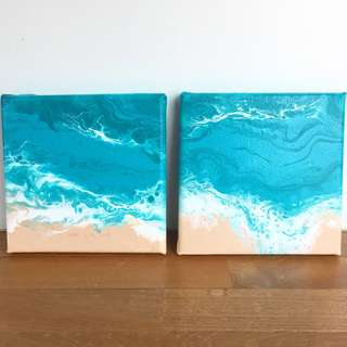 Set of 2 seascapes 15x15cm