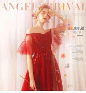 🚚 2018天使嫁衣新娘婚紗禮服新款 璀璨重工時髦仙氣喇叭袖紅色新娘婚紗禮服敬酒服