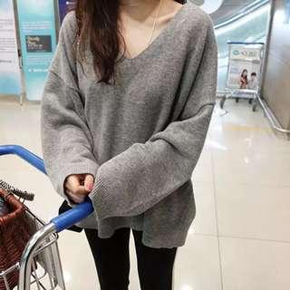美式 簡單休閒針織上衣 (灰色)