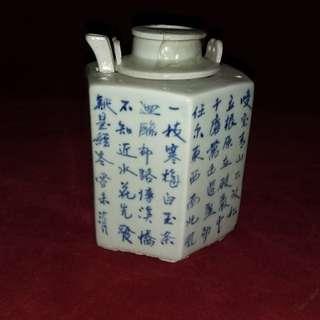 青花六角双层茶壶