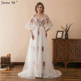 Embroidery Flowers Tulle Evening Gown