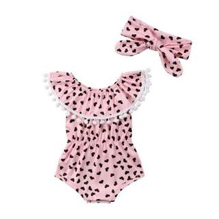 Heart Spot Pink Jumpsuit with Matching Headband