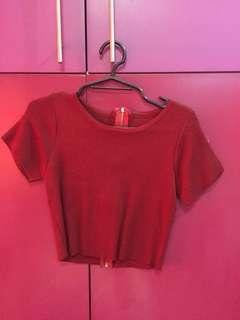 Red sleeved crop top