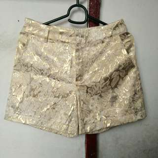 Gold Floral Lace Shorts