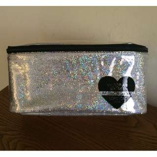 Victoria's Secret Silver Sequin 2014 Fashion Show Cosmetic Makeup Train Case