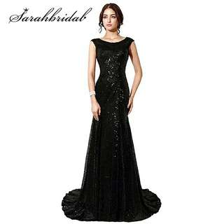 Vintage Lace Mermaid Mother Of The Bride Dresses Vestido De Madrinha Black Sequined Long Women Elegant Evening dresses