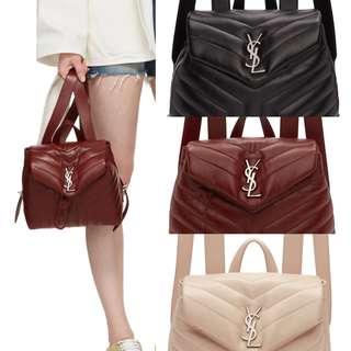 🎁SAINT LAURENT LOGO SMALL BABKPACK / NUDE PINK/ BLACK/RED 🎁YSL  小背包