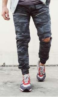 Jogger Pants Distressed Camo Gray