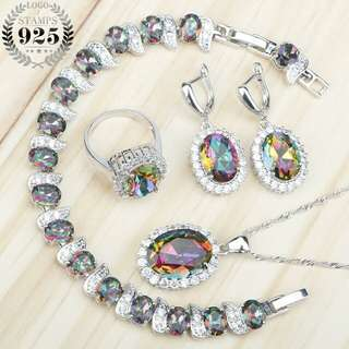 Mystic Rainbow Zircon 925 Silver Costume Bridal Jewelry Sets Women Earrings Rings Pendant Necklace Bracelets Set Gift Box
