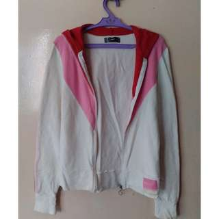 Authentic ONLY White/Pink/Red Zip Hoodie Jacket/Gym Sweats/Training Top