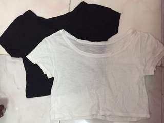 Plain Cropped Top (black and white)