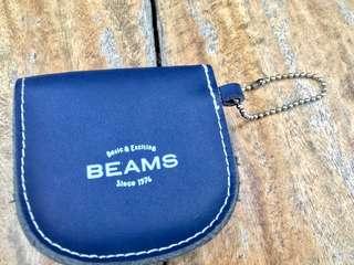 日本 beams 真皮小零錢包