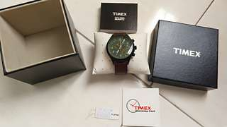 Timex Chronograph green dial brown leather