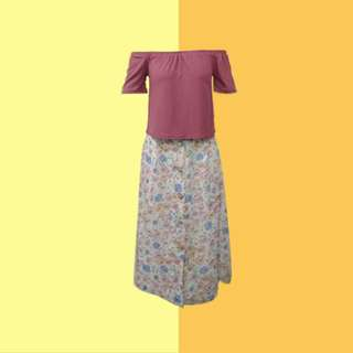 BUNDLE: 1👚1👗 ✅Fuchsia Off Shoulder (HTP) ✅Floral skirt ———————— Size: S  Price: P300.00