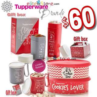 TUPPERWARE Romance SweetHeart Collection 6in1Set: 2Cookies Keeper + 2Mugs +2Modular with GIFT BOX