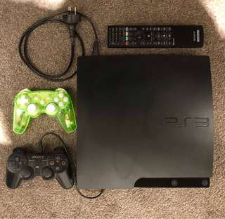 PS3 with 2 controllers and Remote