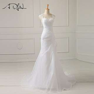 ADLN In Stock Wedding Dress Applique Beading Bodice Organza White/Ivory Vestido De Noiva Wedding Princess Bride Dresses