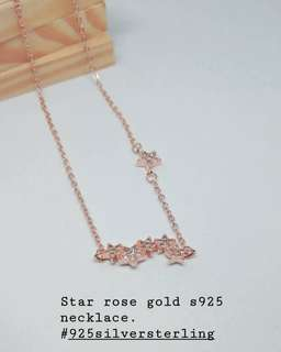 Star rose gold 925 silver sterling necklace